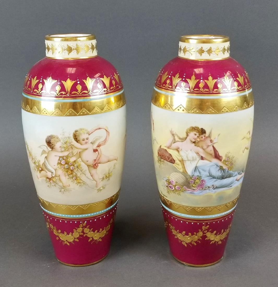 Pair of 19th C. Royal Vienna Hand Painted Vases