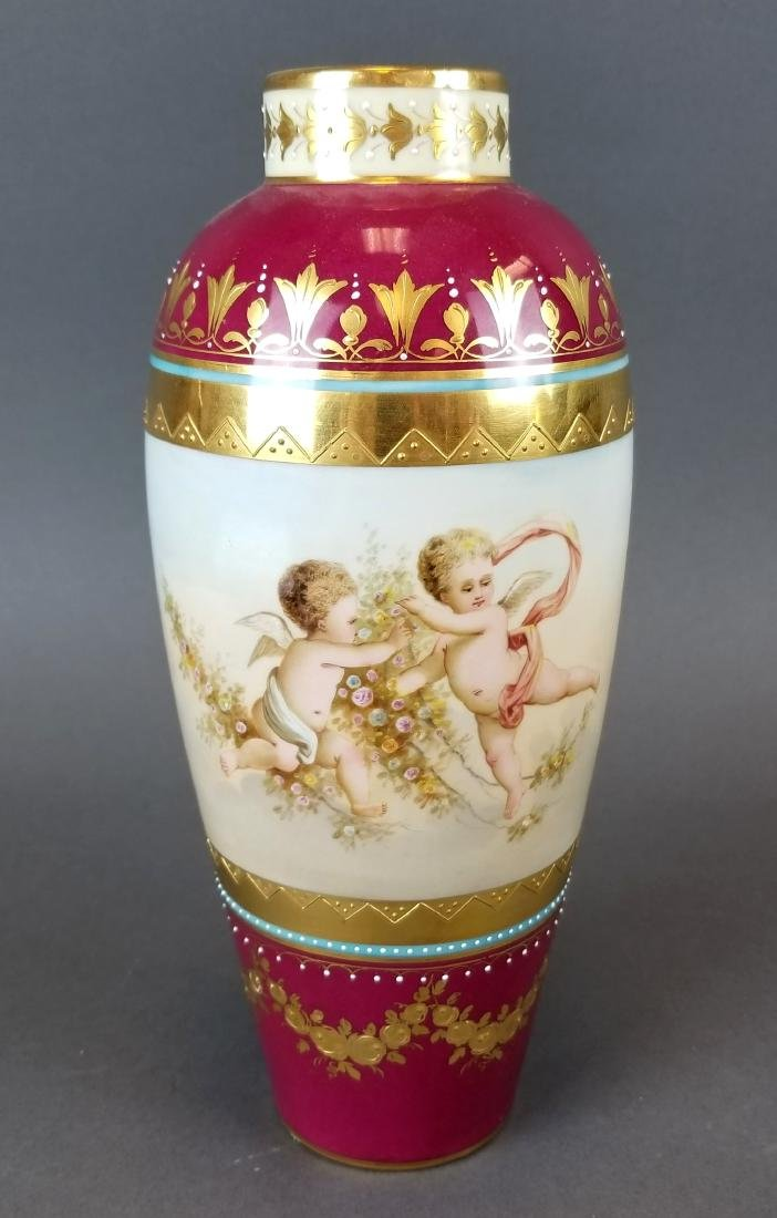 Pair of 19th C. Royal Vienna Hand Painted Vases - 2