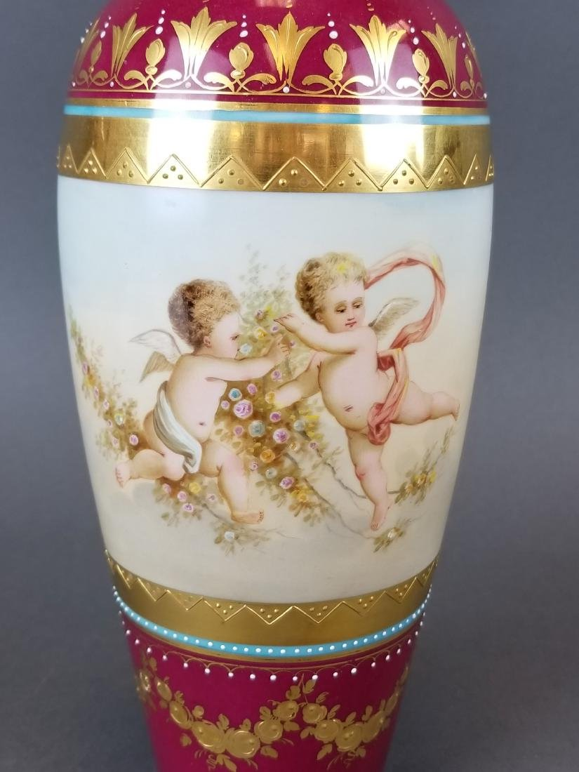 Pair of 19th C. Royal Vienna Hand Painted Vases - 3