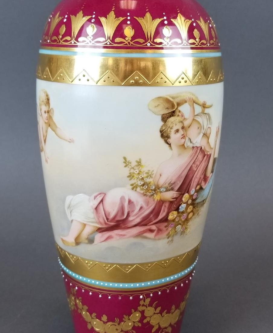 Pair of 19th C. Royal Vienna Hand Painted Vases - 4