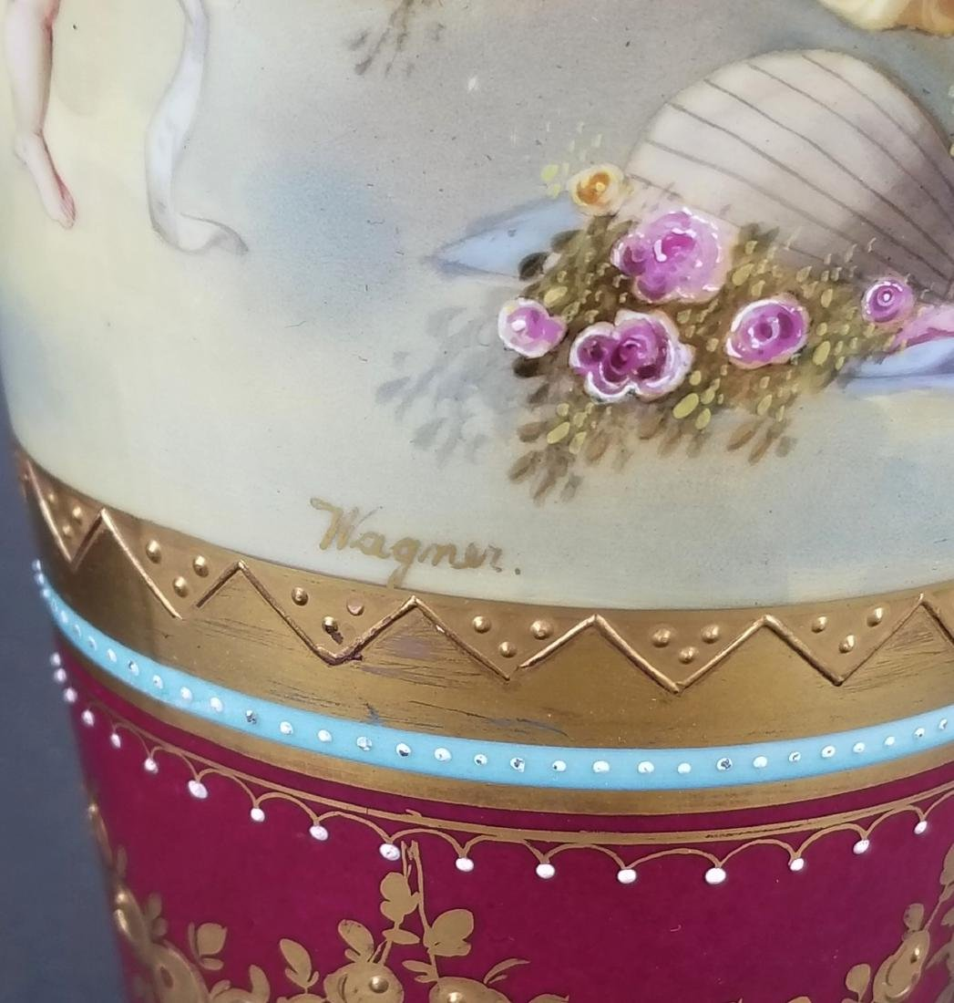 Pair of 19th C. Royal Vienna Hand Painted Vases - 7