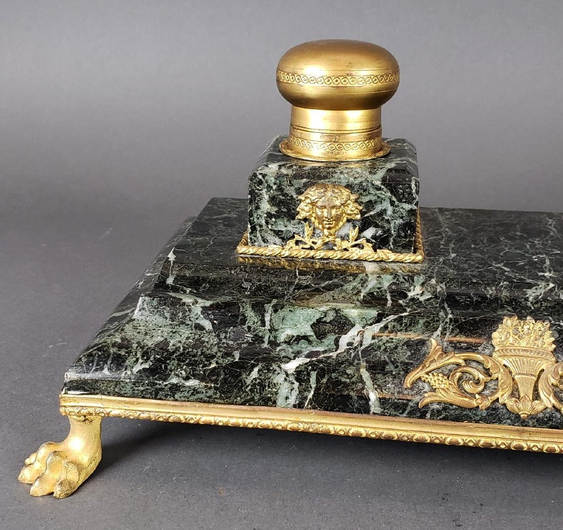 French Bronze & Marble Inkwell - 2