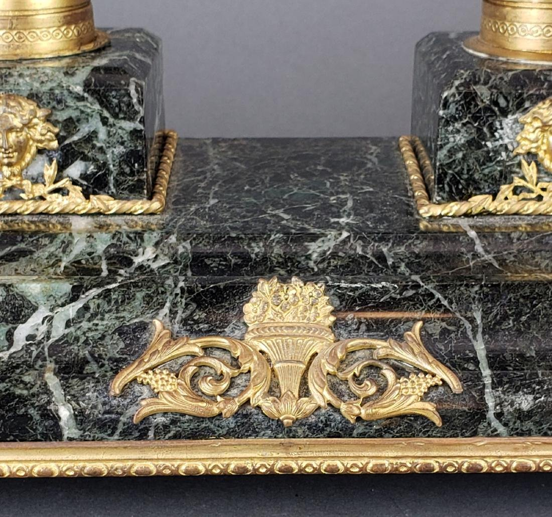 French Bronze & Marble Inkwell - 3