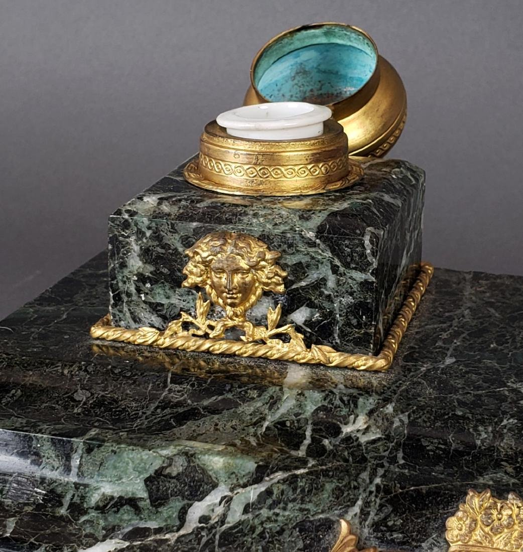 French Bronze & Marble Inkwell - 4