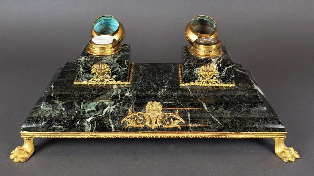 French Bronze & Marble Inkwell - 5