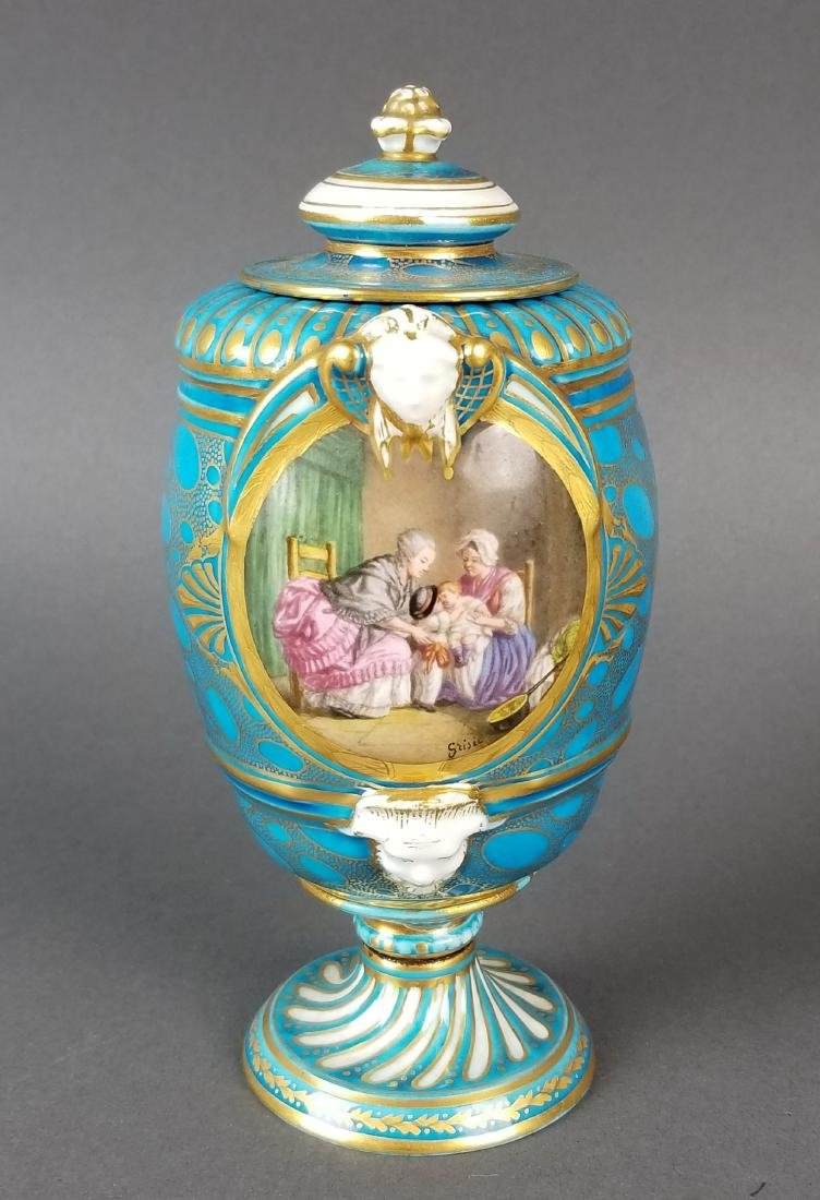 Pair of 19th C. French Sevres Porcelain & Bronze Urns - 2