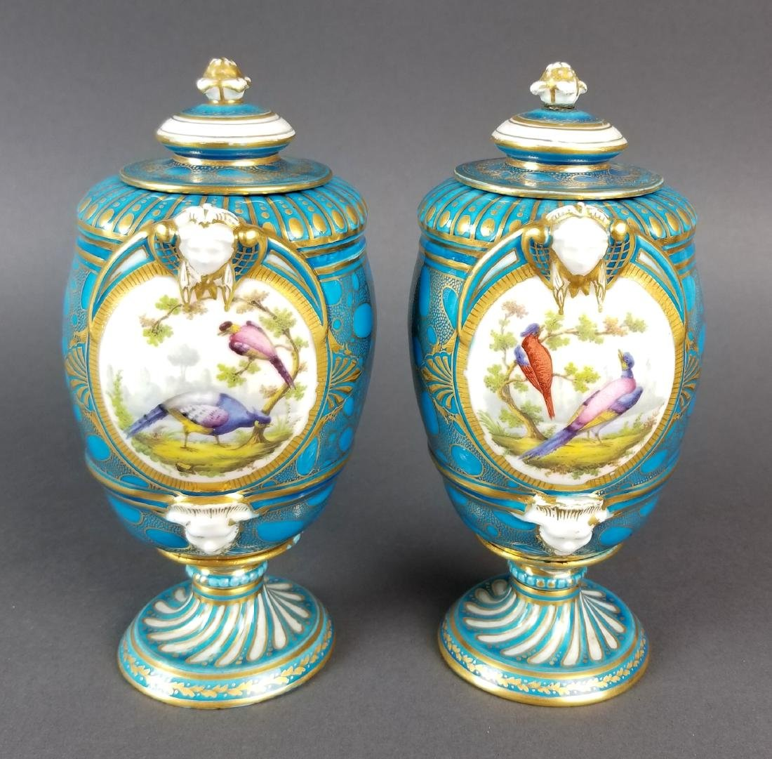 Pair of 19th C. French Sevres Porcelain & Bronze Urns - 7