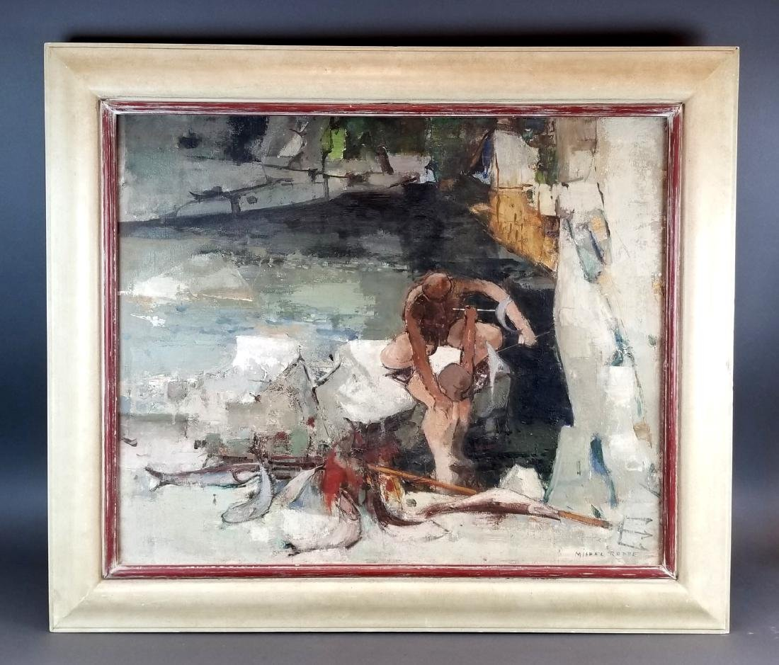 Oil on Canvas of Man Signed Michel Rodde