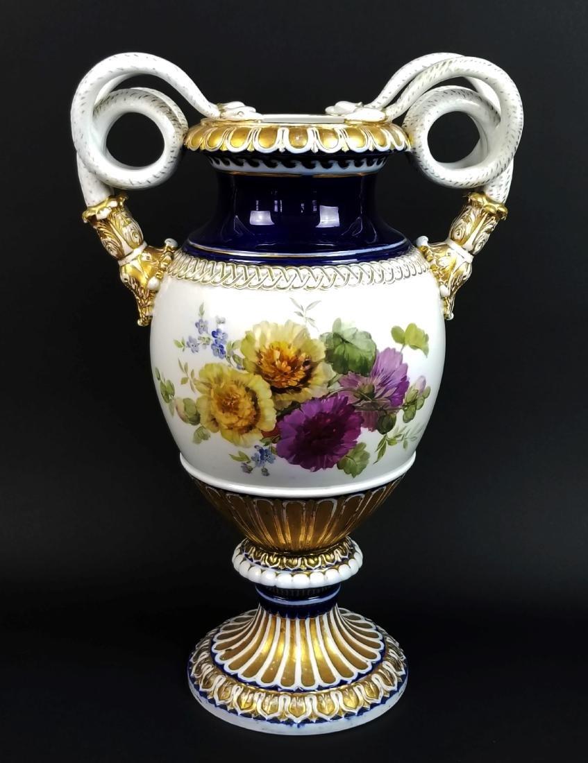 19th C. Meissen Cobalt Large Snake Handled Vase