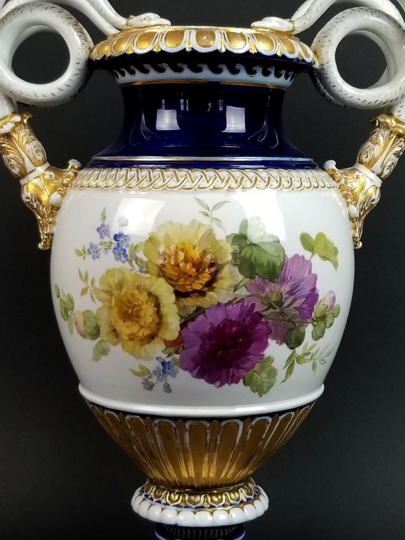19th C. Meissen Cobalt Large Snake Handled Vase - 2