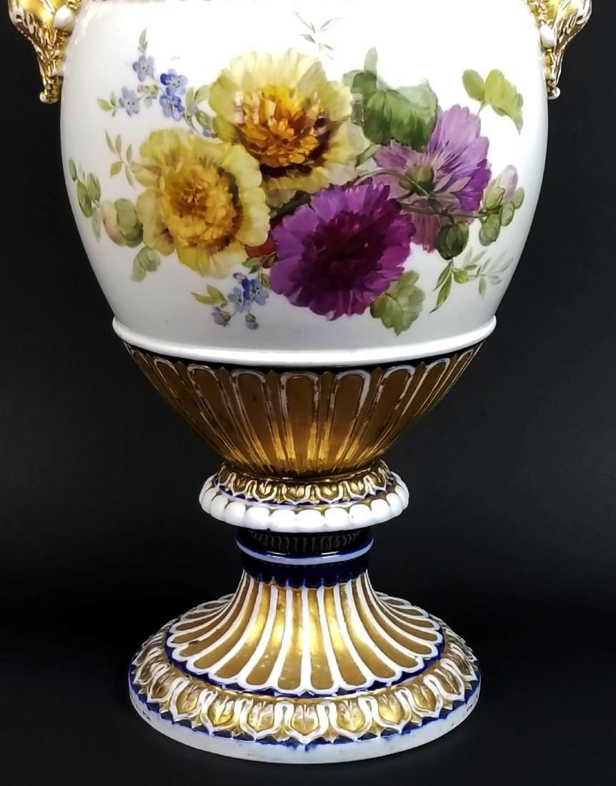 19th C. Meissen Cobalt Large Snake Handled Vase - 3