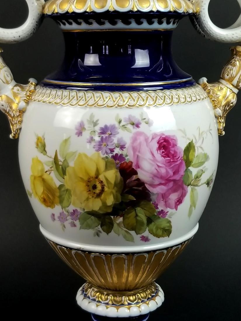 19th C. Meissen Cobalt Large Snake Handled Vase - 6