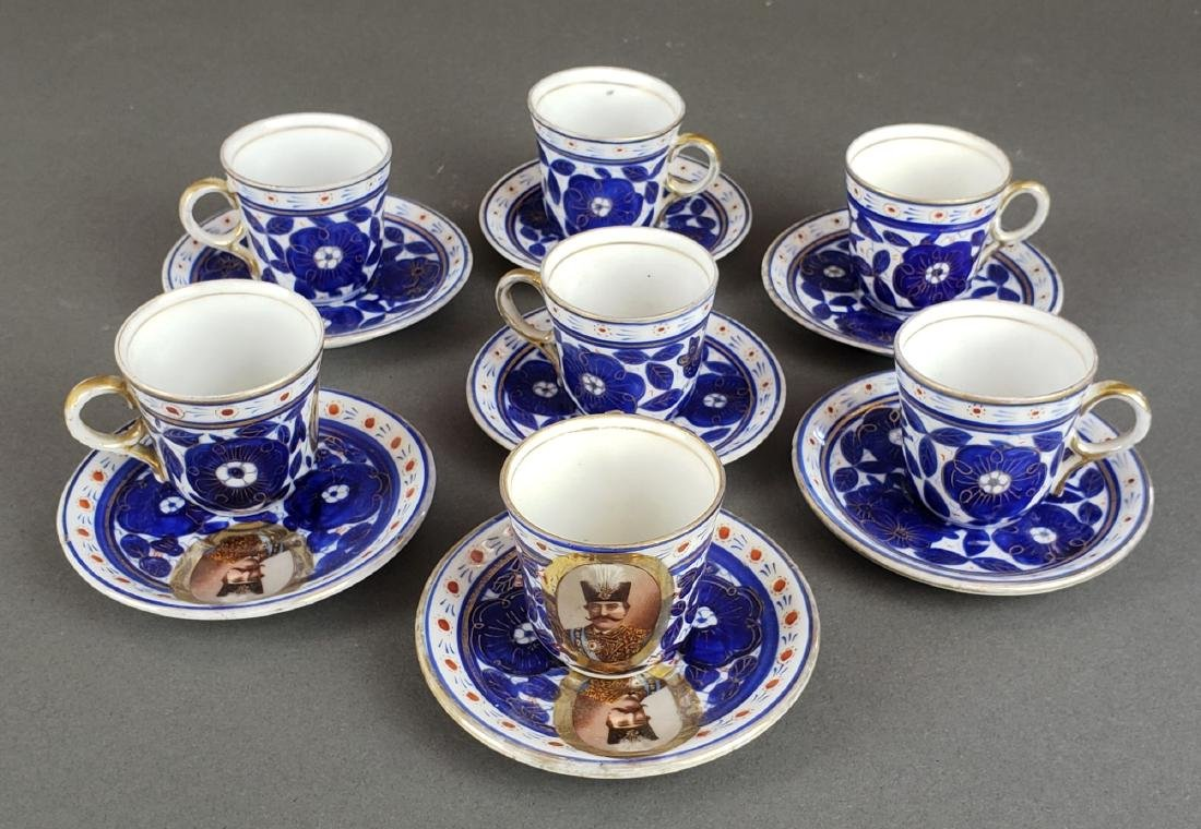 14 pc. Persian Qajar Porcelain Cup & Saucer Set, 19th