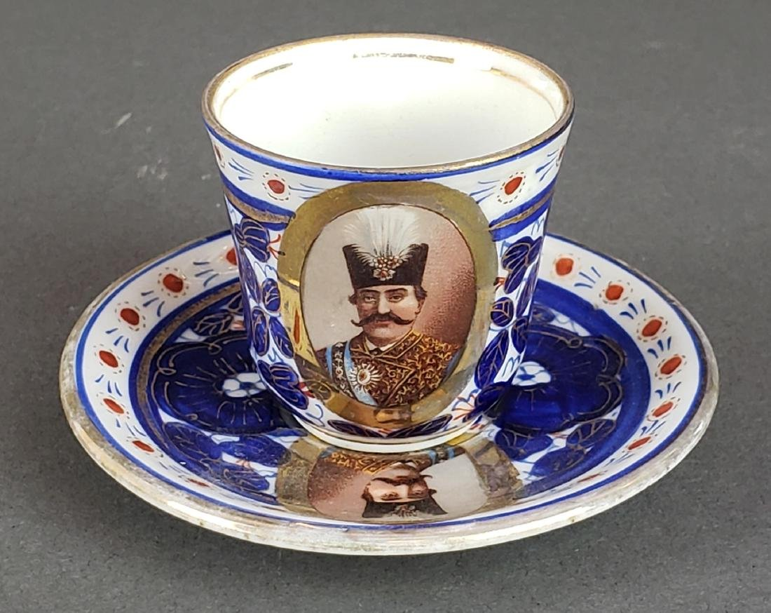 14 pc. Persian Qajar Porcelain Cup & Saucer Set, 19th - 2
