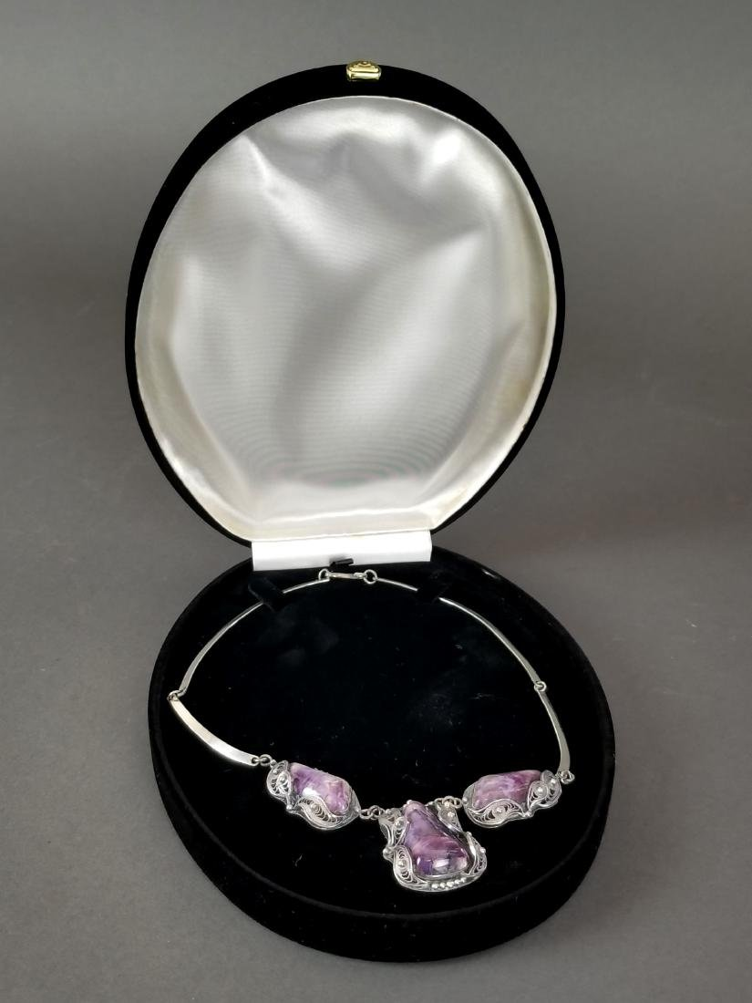 A Russian Silver & Amethyst Necklace