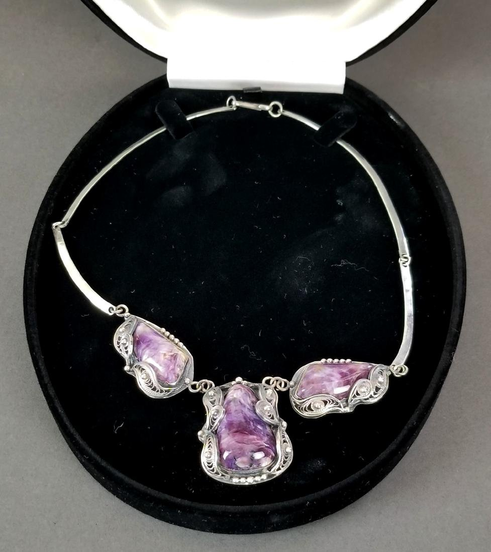 A Russian Silver & Amethyst Necklace - 2