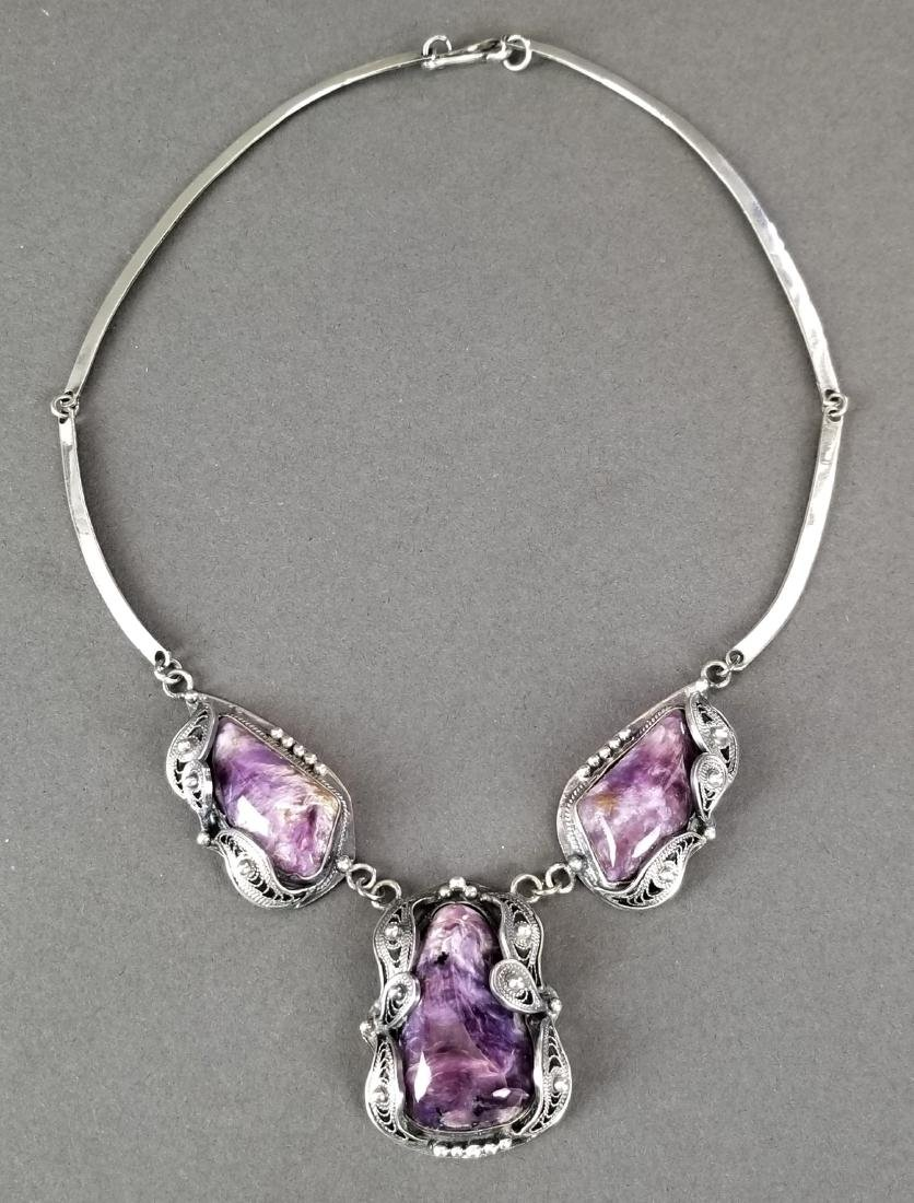 A Russian Silver & Amethyst Necklace - 3
