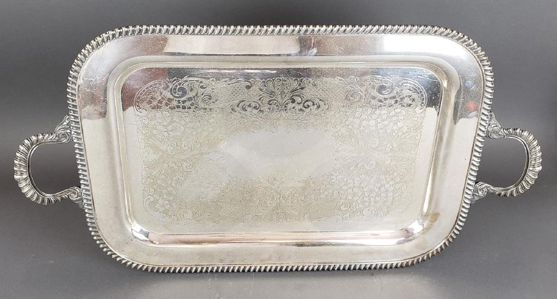 Large Silverplated Handled Platter