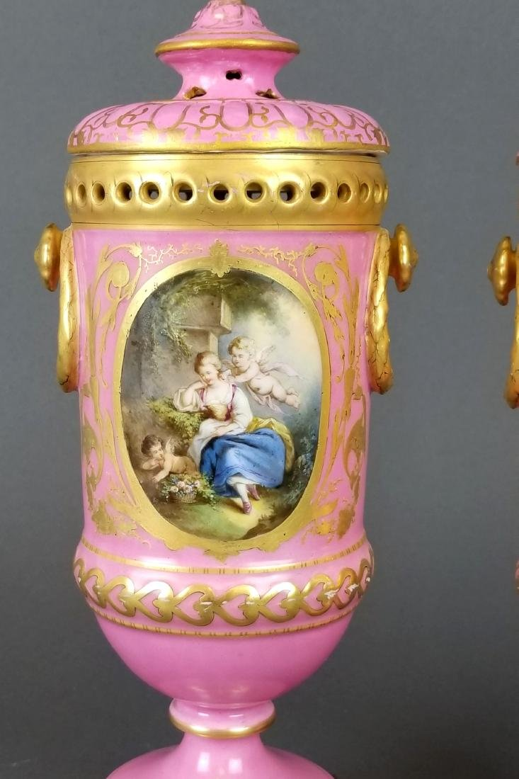 Pair of French Sevres Handpainted Vases - 2