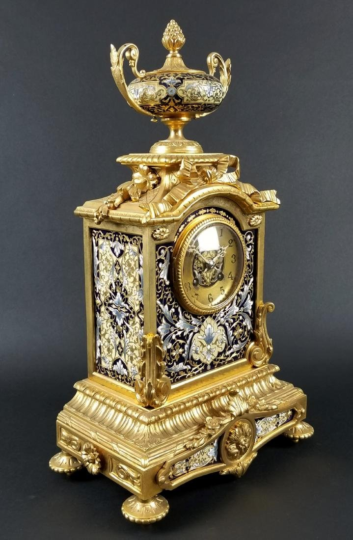 Late 19th C. 3 Pc. French Gilt Bronze and Enamel Louis - 3