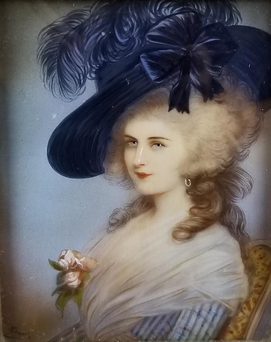 19th C. Hand Painted Framed Miniature Portrait of a - 2