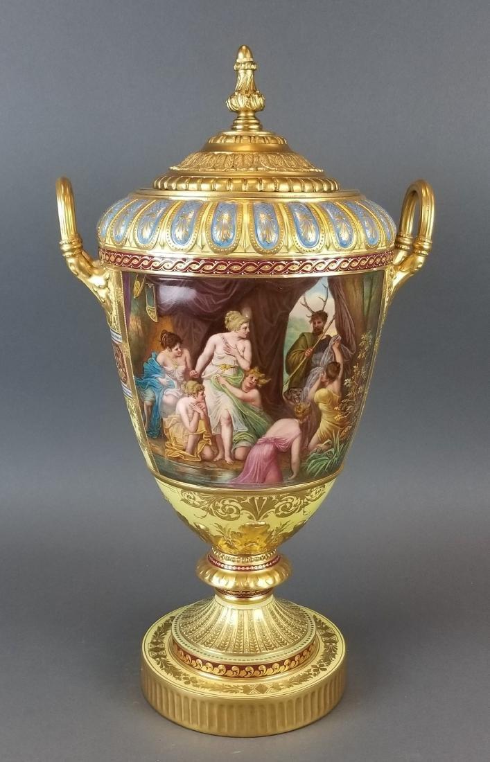 Large 19th C. Royal Vienna Hand Painted Vase