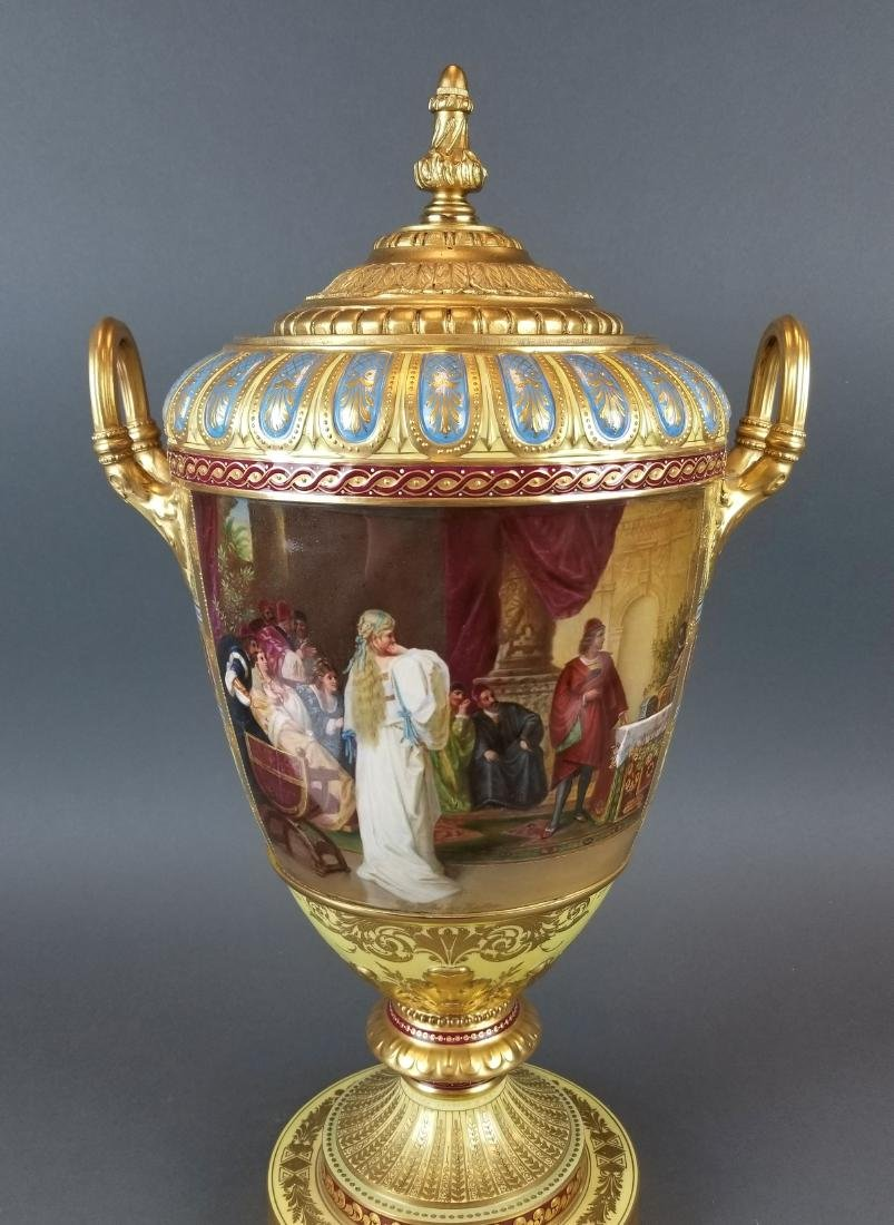 Large 19th C. Royal Vienna Hand Painted Vase - 6