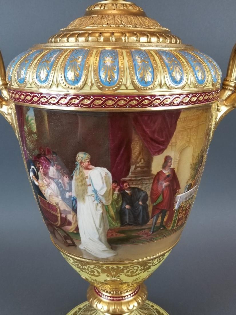 Large 19th C. Royal Vienna Hand Painted Vase - 8