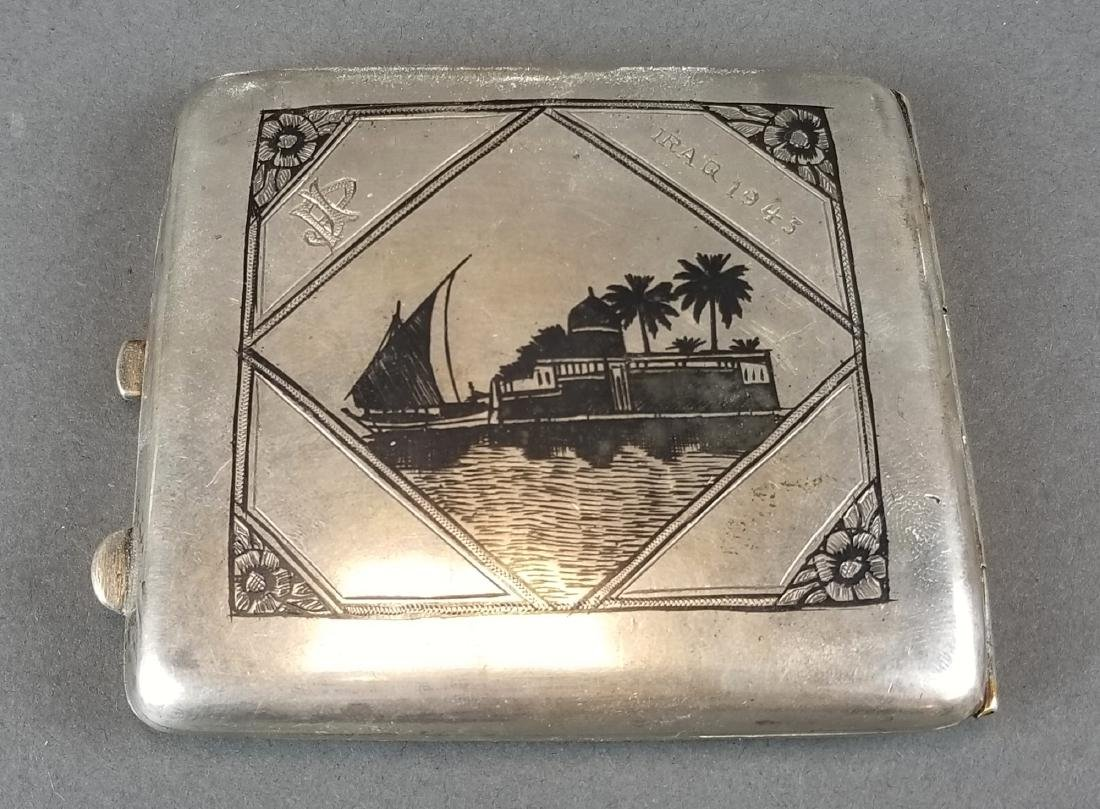 Persian Ahvaz Silver Hand Engraved Cigarette Case