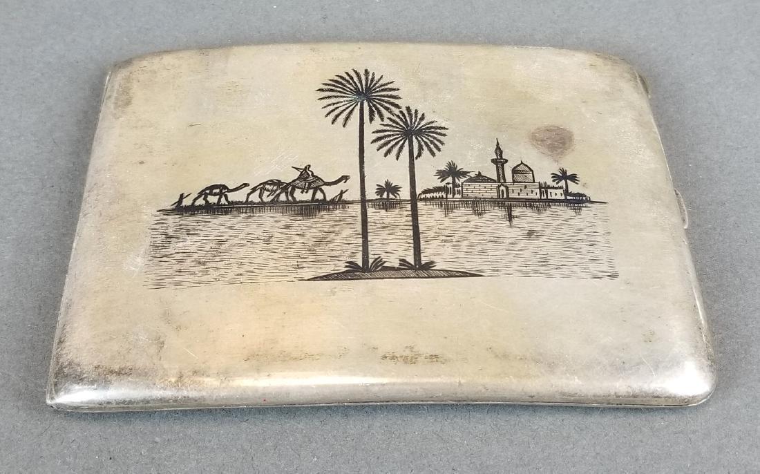 Persian Ahvaz Silver Hand Engraved Cigarette Case