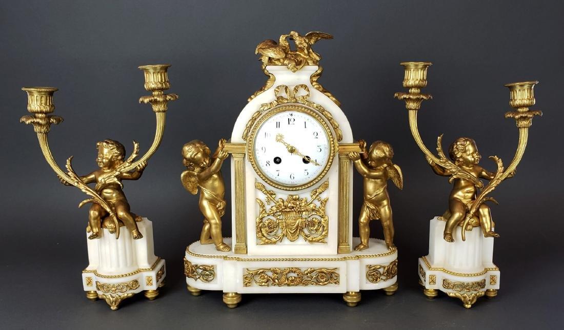 19th C. French Bronze & Marble Clockset