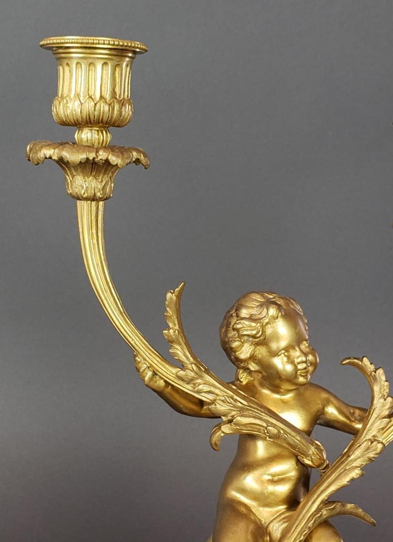 19th C. French Bronze & Marble Clockset - 6