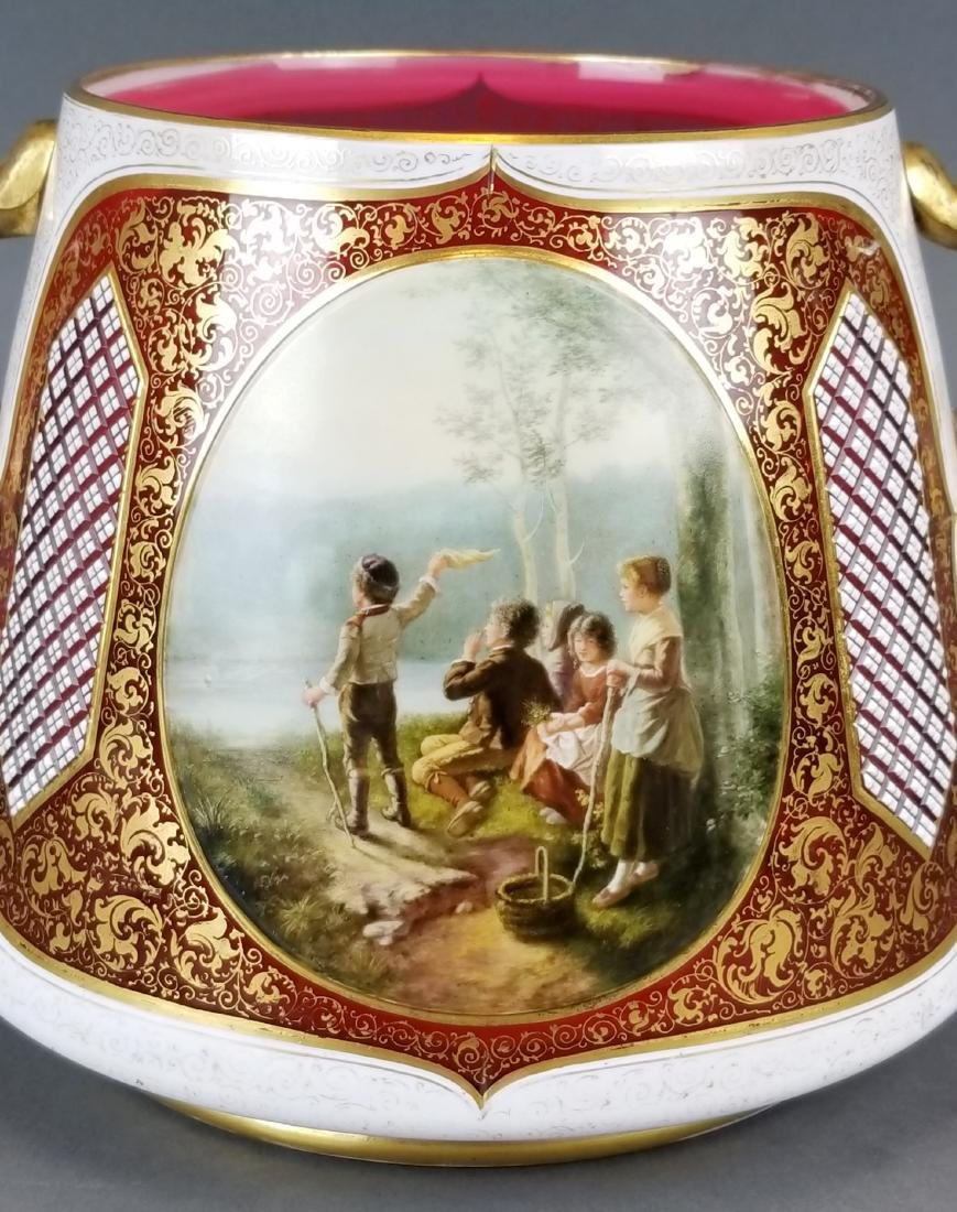 19th C. Large Bohemian Hand Painted Bowl - 5