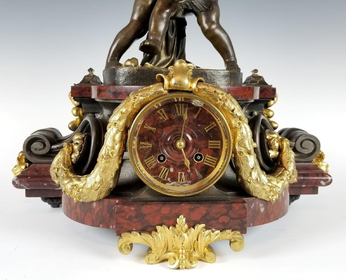 19th C. French Bronze and Rouge Marble Figural 3 pc. - 3
