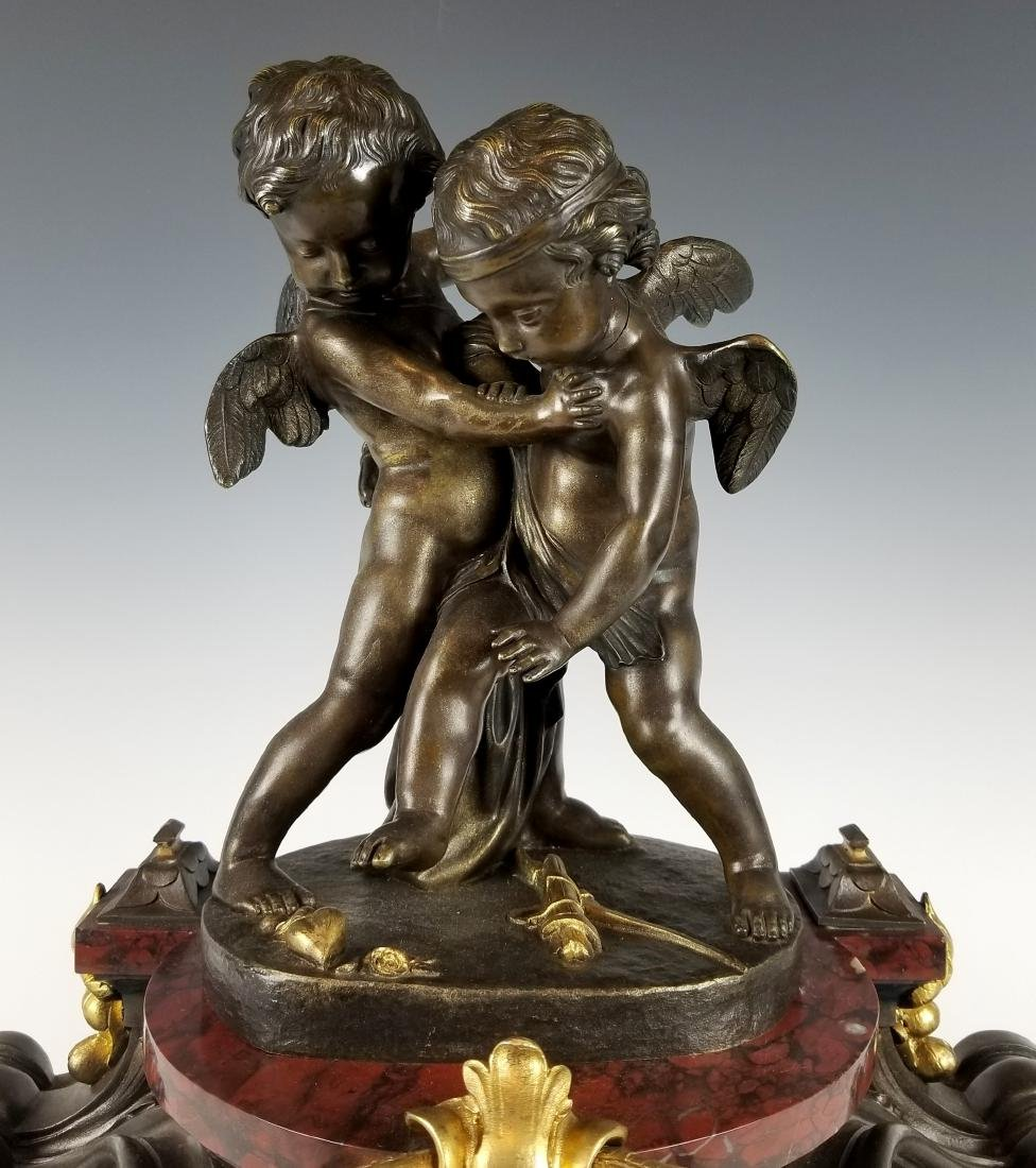 19th C. French Bronze and Rouge Marble Figural 3 pc. - 4