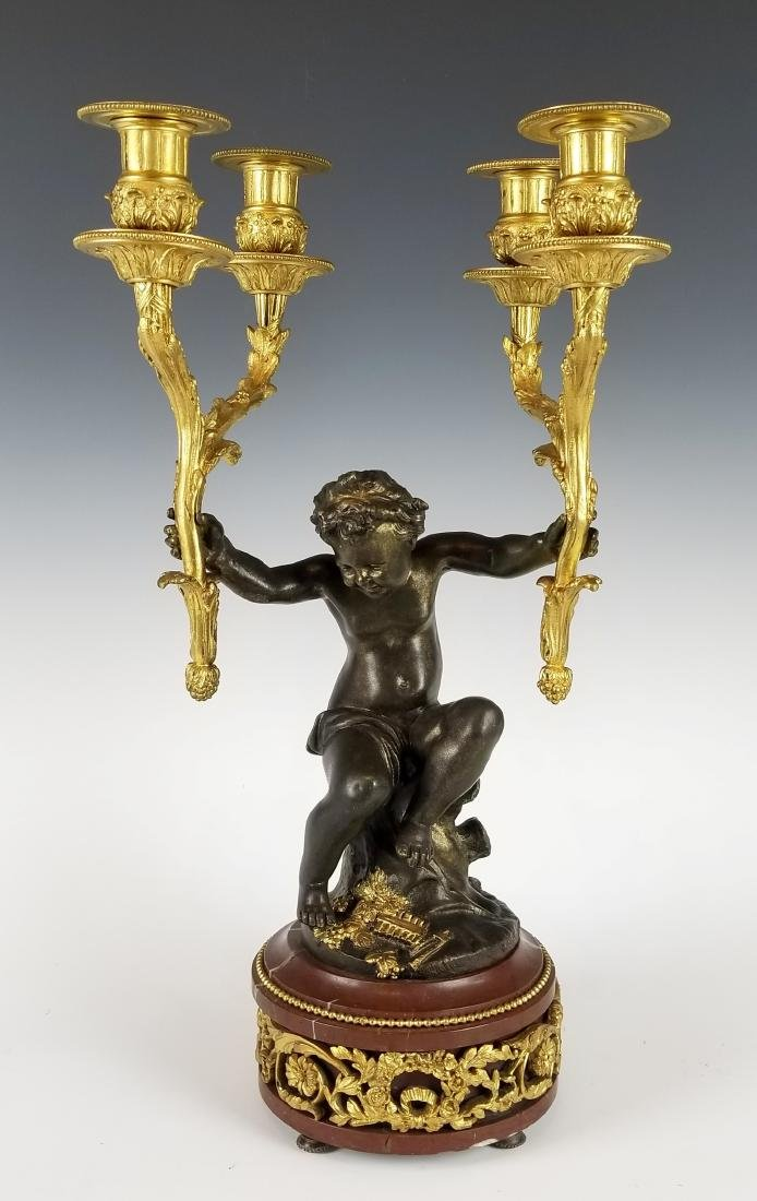 19th C. French Bronze and Rouge Marble Figural 3 pc. - 6