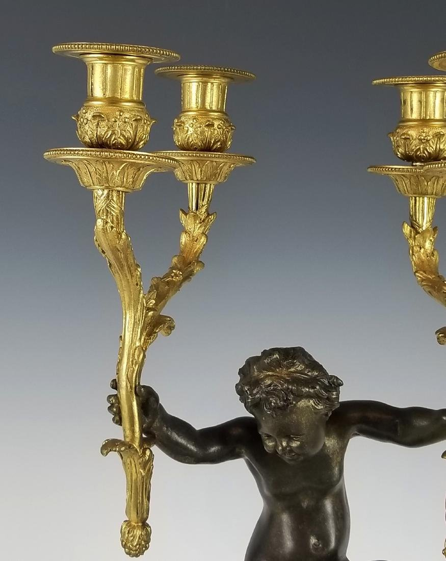 19th C. French Bronze and Rouge Marble Figural 3 pc. - 8