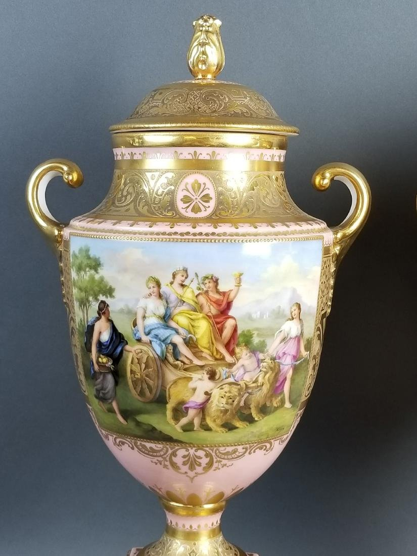 A Pair of Late 19th C. Royal Vienna Pink Ground - 2