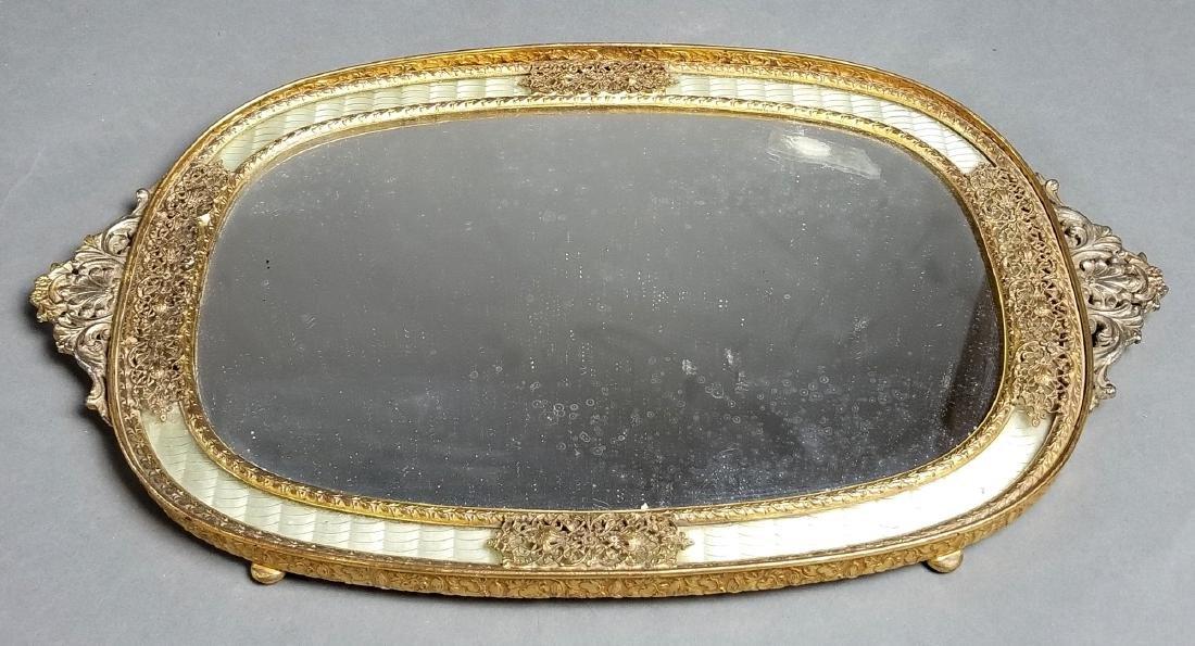 19th C. French Enamel and Bronze 5 Pc. Vanity Set - 2