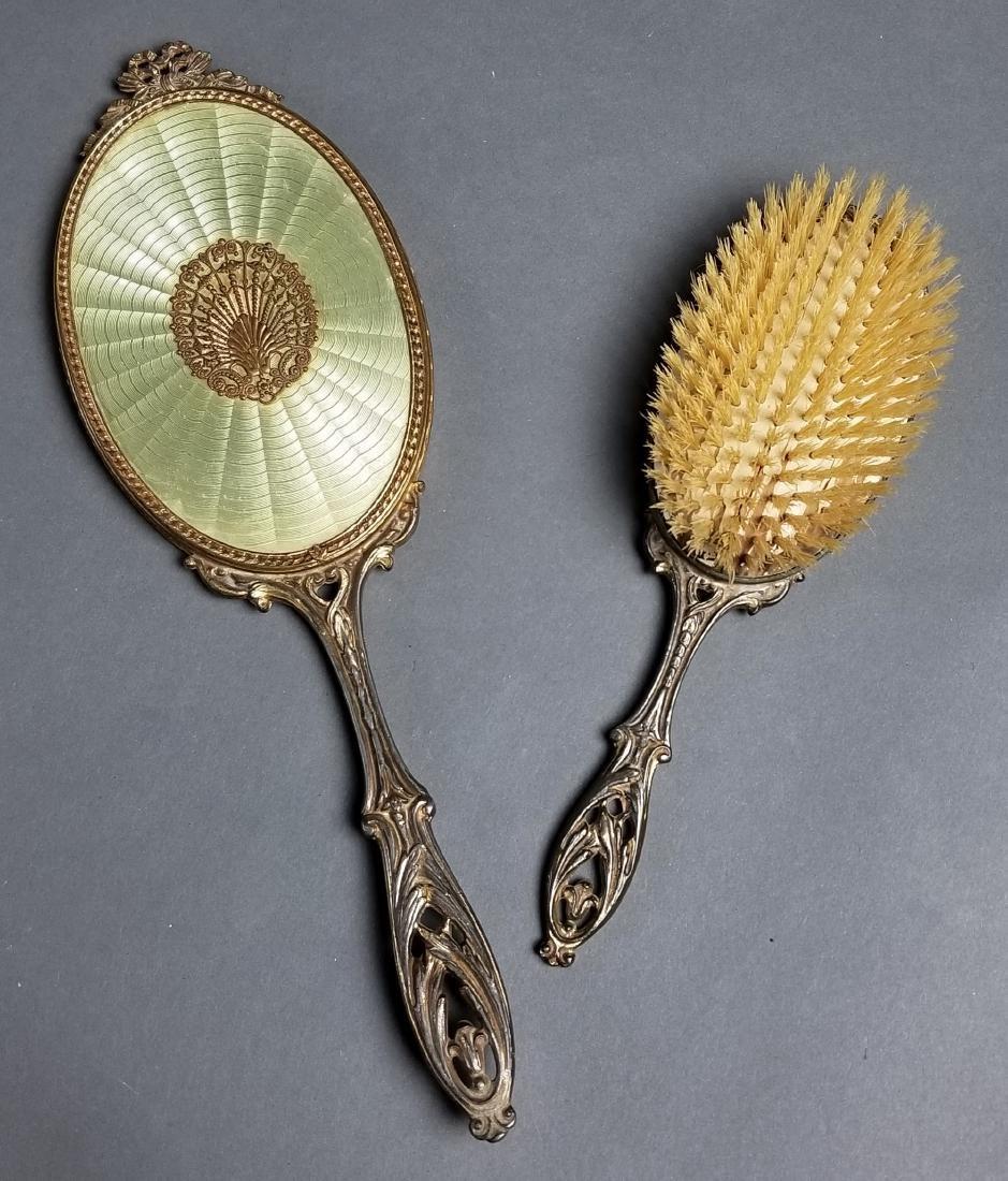 19th C. French Enamel and Bronze 5 Pc. Vanity Set - 3
