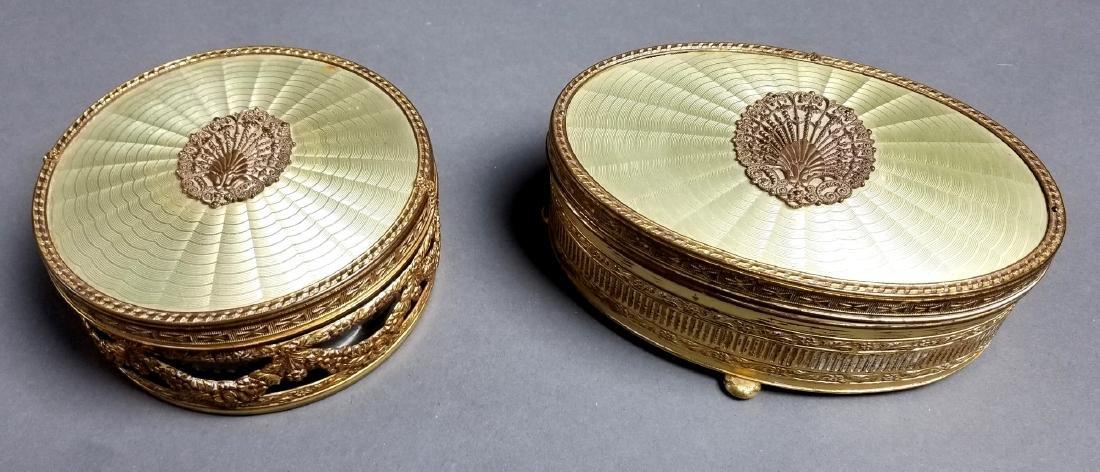 19th C. French Enamel and Bronze 5 Pc. Vanity Set - 4