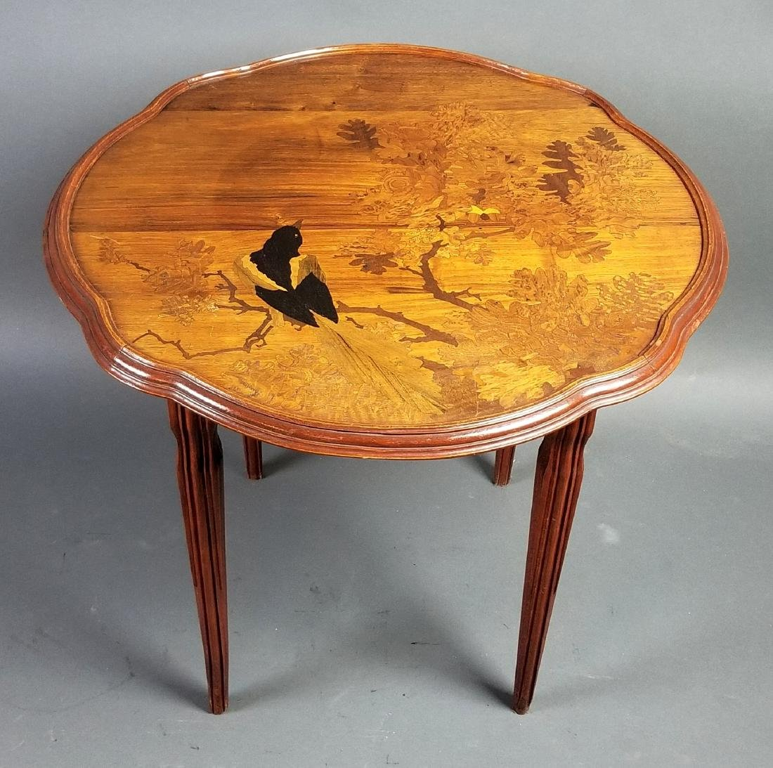 Galle French Inlaid Wooden End Table, Signed