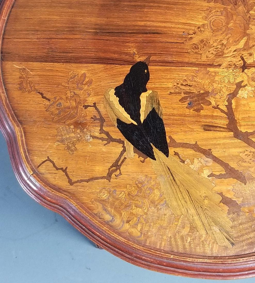 Galle French Inlaid Wooden End Table, Signed - 3