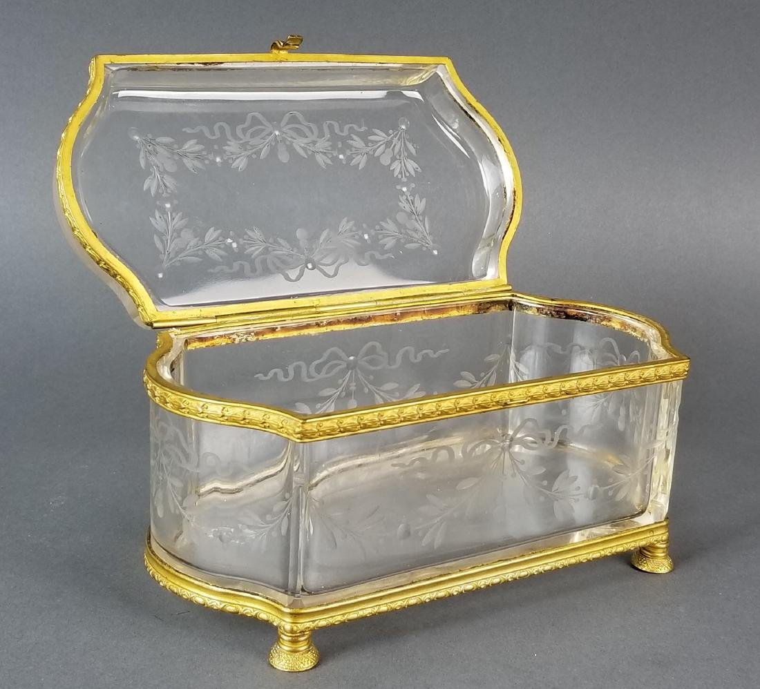 French Baccarat Crystal & Bronze Jewelry Box - 2