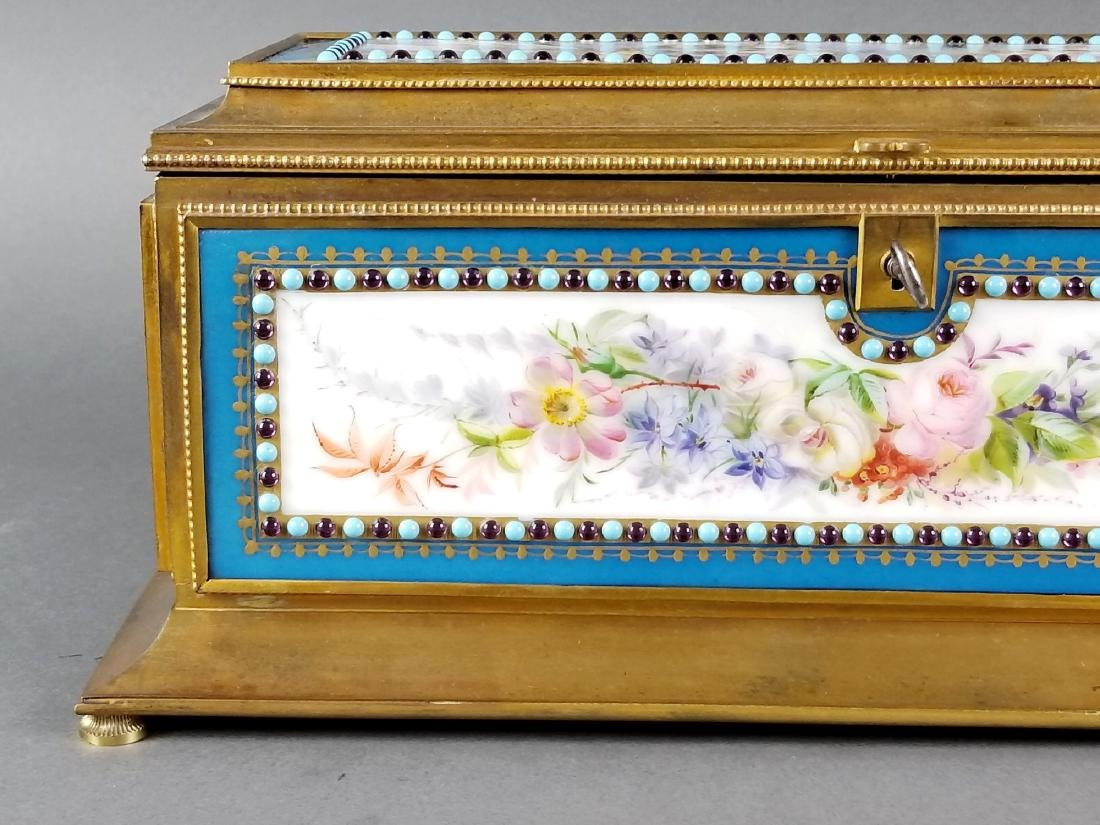 Large Sevres Porcelain and Bronze Jewelled Jewelry Box - 2