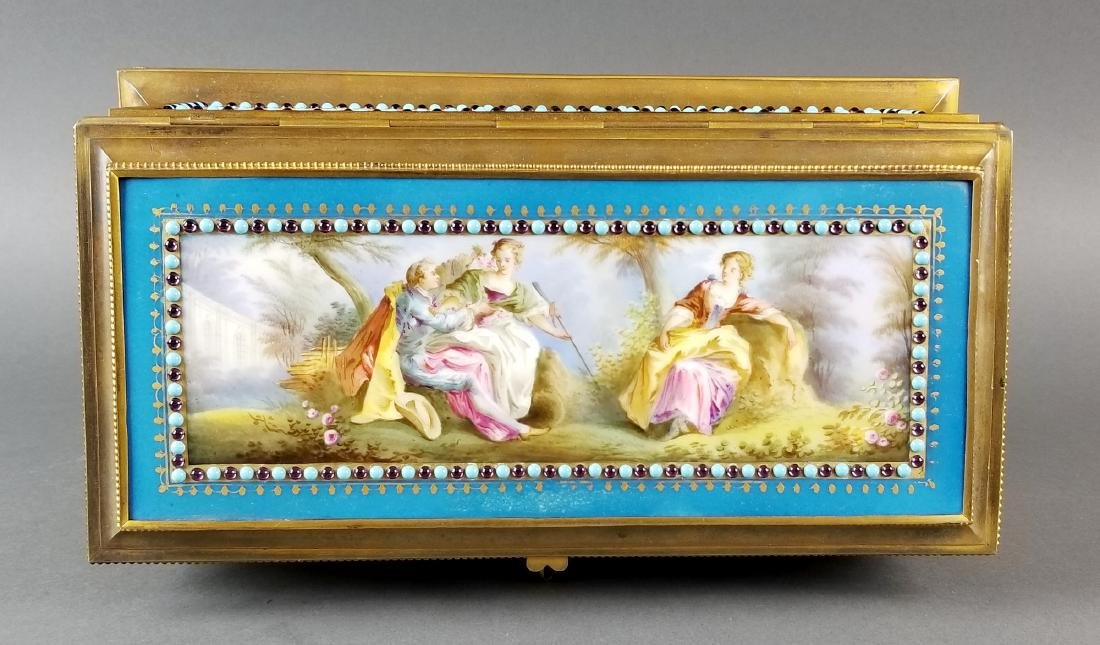 Large Sevres Porcelain and Bronze Jewelled Jewelry Box - 3