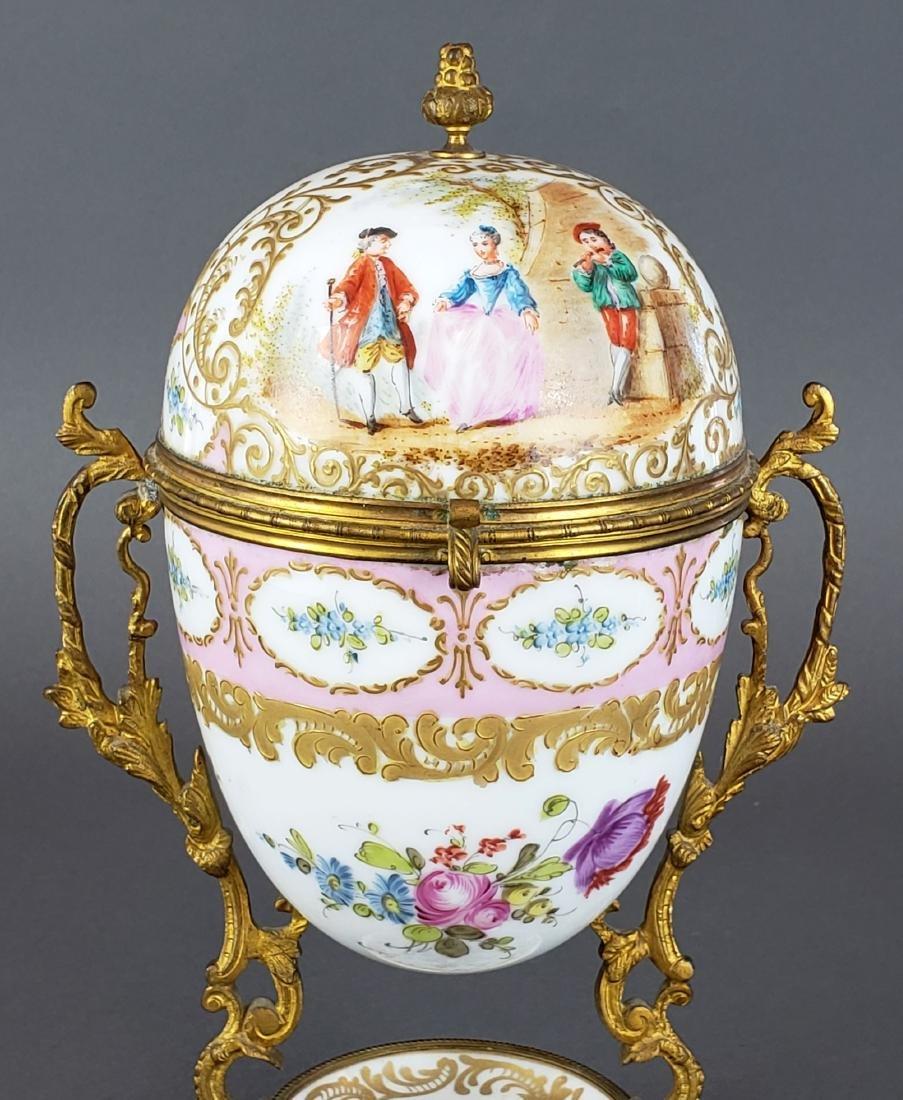 French Sevres Porcelain & Bronze Egg Shaped Vase - 2