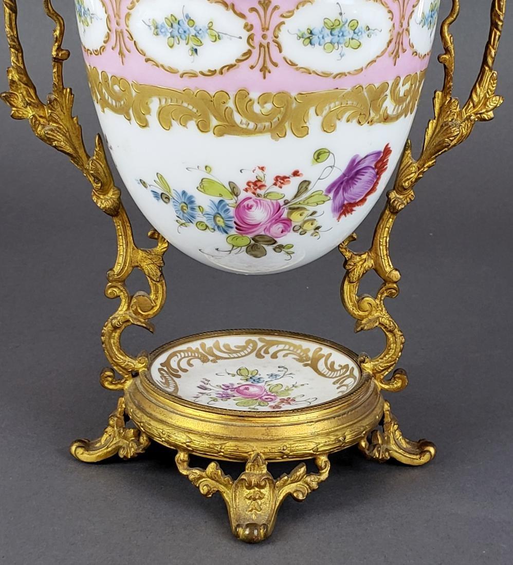 French Sevres Porcelain & Bronze Egg Shaped Vase - 3