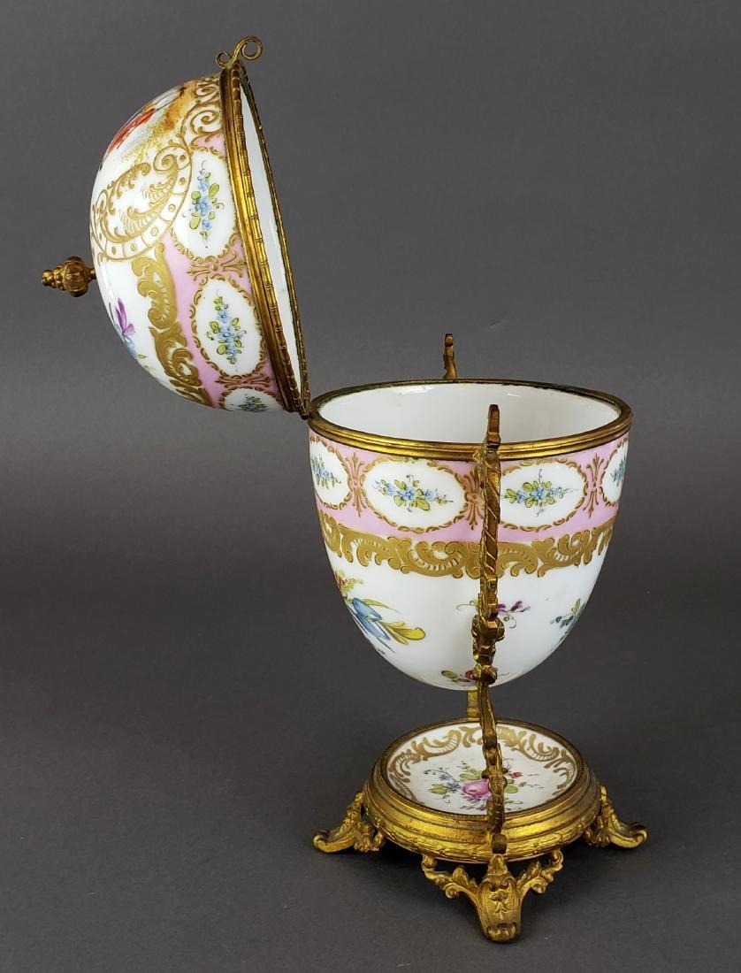 French Sevres Porcelain & Bronze Egg Shaped Vase - 4