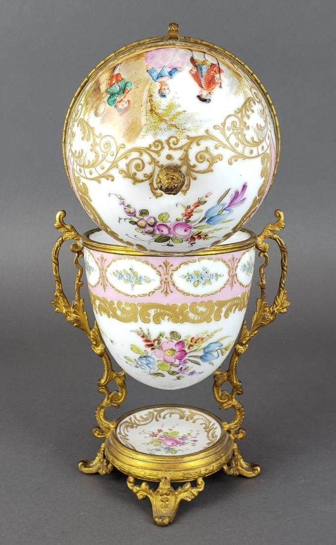 French Sevres Porcelain & Bronze Egg Shaped Vase - 5